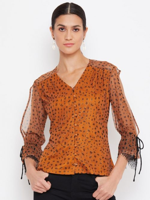 Tan Color Animal Print  Scalloped Cold Sleeve Top for Women