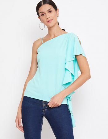 Turquoise Color Off Shoulder Asymmetrical Frill Top