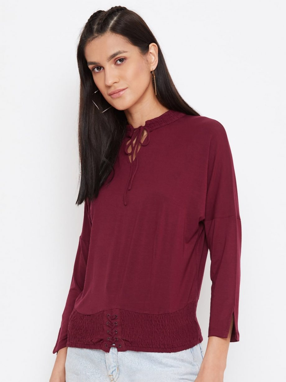 Vortex Dolman Top With Smocking In Deep Red Color