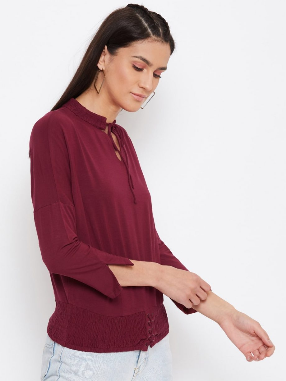Vortex Dolman With Smocking Top In Deep Red Color
