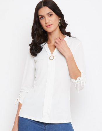 White Color Dual Plate Women Top