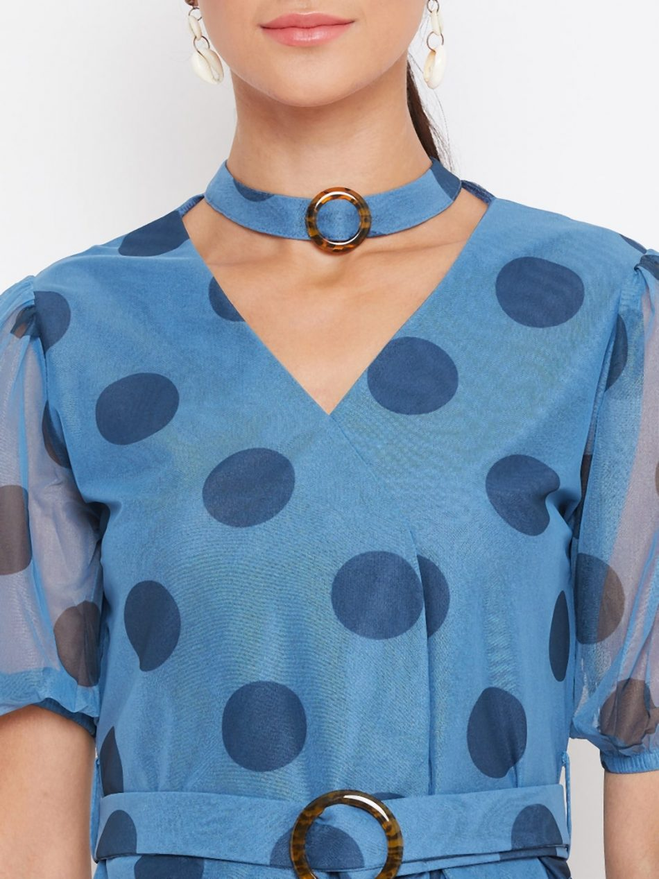Women Blue Color Choker Neck Polka Top With Rings