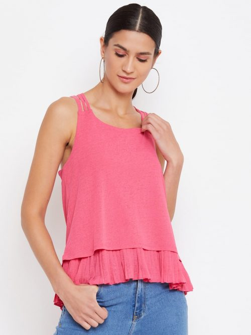 Women Pleat Detail Layered Pink Color Cami