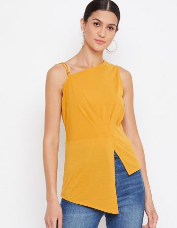 Yellow Color Asymmetric Front High-Low Women Top